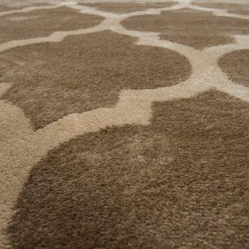 Designer Teppich Marokkanisches Muster Kurzflorteppich Modern Trend Beige Braun – Bild 3