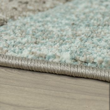 Designer Rug Modern Contour Cut Pastel Colours Geometric Shapes In Turquoise – Bild 2