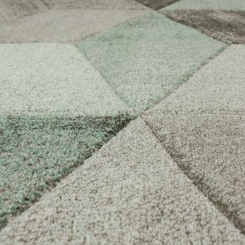 Designer Rug Modern Contour Cut Pastel Colours Geometric Shapes In Green – Bild 3