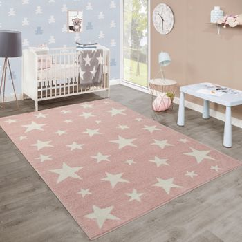 Modern Short-Pile Children's Rug Star Design Children's Room Pastel Pink White – Bild 1