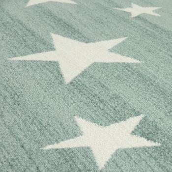 Moderner Kurzflor Kinderteppich Sternendesign Kinderzimmer Pastell Türkis Weiß – Bild 3
