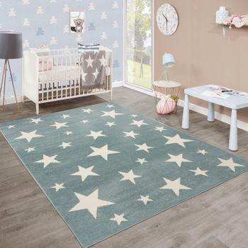 Short-Pile Children's Rug Stars Pastel Turquoise