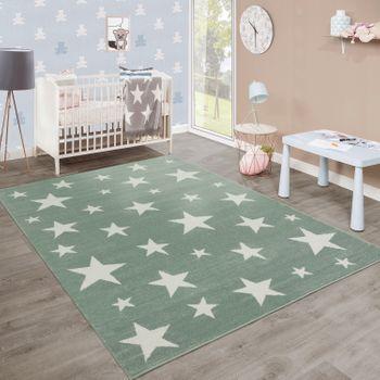 Moderner Kurzflor Kinderteppich Sternendesign Kinderzimmer Pastell Grün Weiß – Bild 1