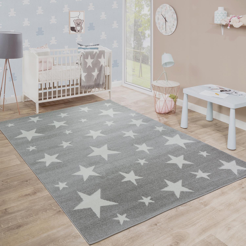 Moderner Kurzflor Kinderteppich Sternendesign Kinderzimmer Star Muster Grau Weiß
