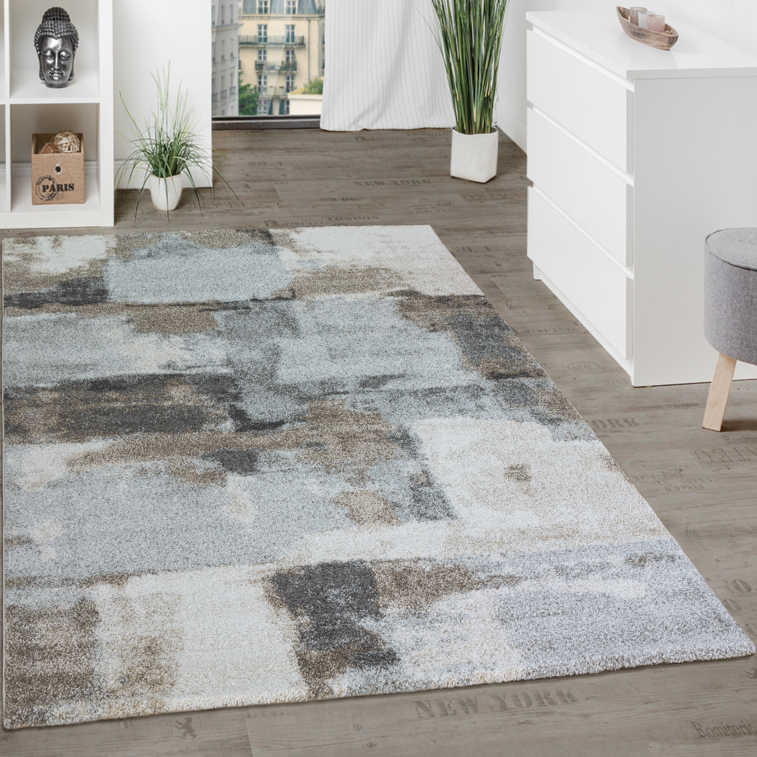 Checked Black Grey Rug: Designer Rug Checked Grey