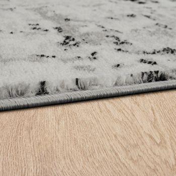 Designer Teppich Kurzflor Wohnzimmer Vintage Look Modern In Grau Creme  – Bild 2