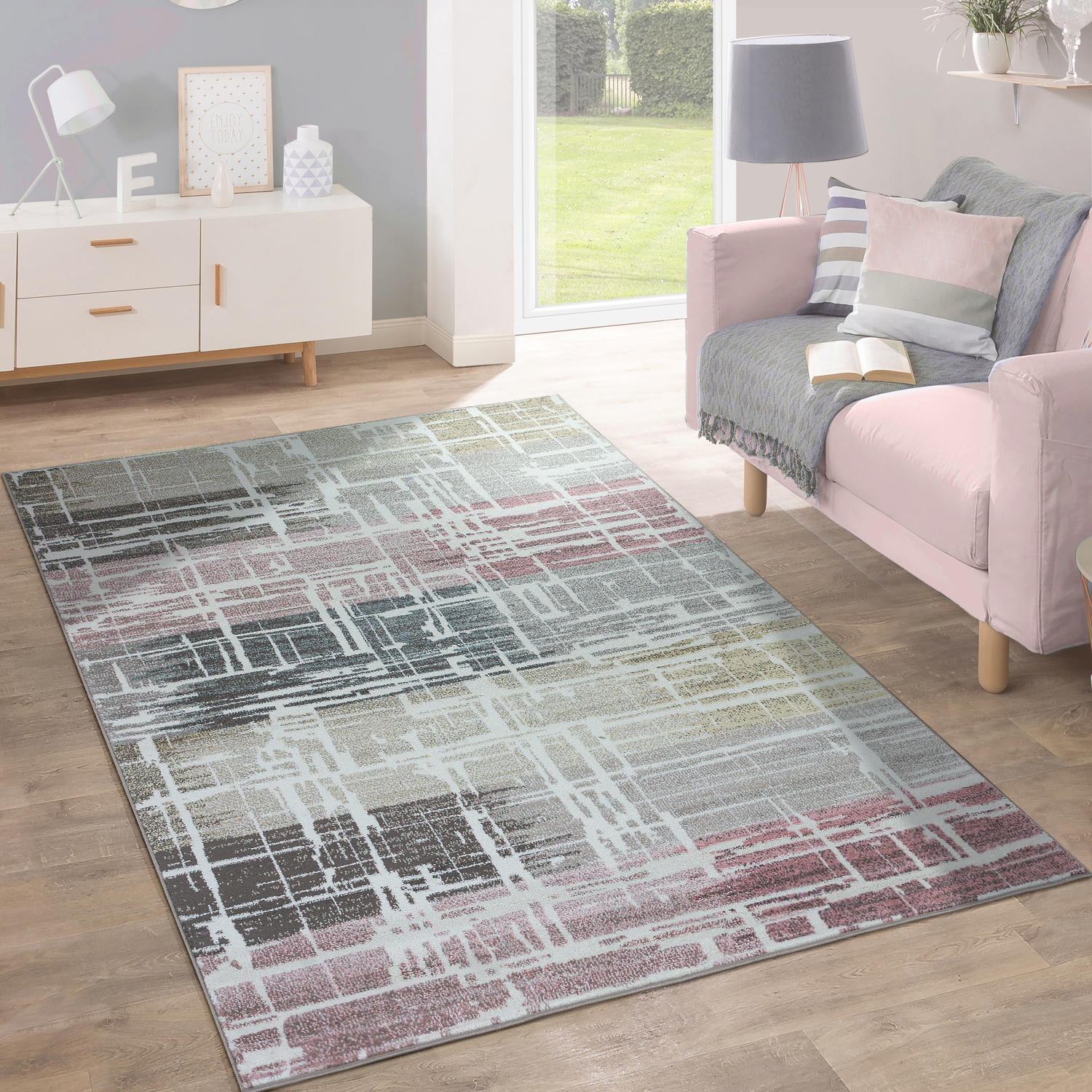 Designer Rug Modern Living Room Oil Painting Multicoloured Pastel Industrial Design