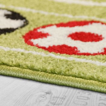 Children's Rug Colourful Footballs Design Short-pile Football Pitch Play Mat White Green – Bild 2