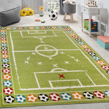 Children's Rug Colourful Footballs Design Short-pile Football Pitch Play Mat White Green – Bild 1