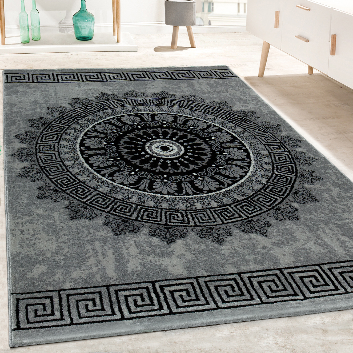 Designer Rug Living Room Mandala Pattern Short-Pile Baroque Style In Grey Black