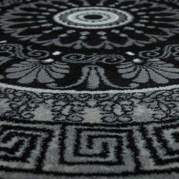 Designer Rug Living Room Mandala Pattern Short-Pile Baroque Style In Grey Black – Bild 3
