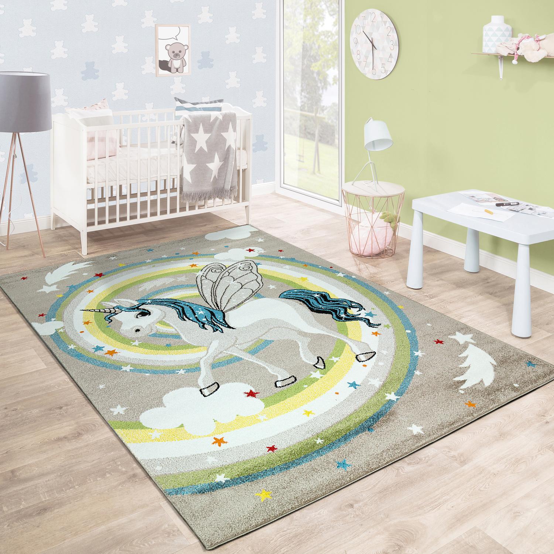 Kinderteppich Einhorn Regenbogen Madchen Beige Kinder Teppiche