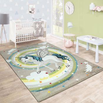 Kinderteppich Kinderzimmer Fliegendes Einhorn Regenbogen Sterne Mädchen In Beige – Bild 1