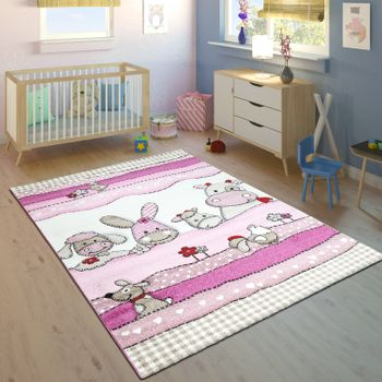Children's Rug Children's Room Contour Cut Farm Animals Pink Cream Pastel Colours – Bild 1
