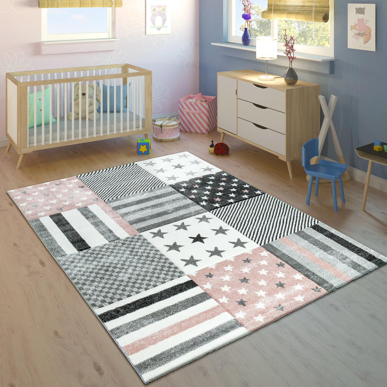 Details zu Kinderteppich Kinderzimmer Konturenschnitt Stern Muster Rosa  Grau Pastellfarben