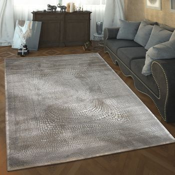 Designer Living Room Rug High Low Texture Spot Pattern Modern In Grey White – Bild 1