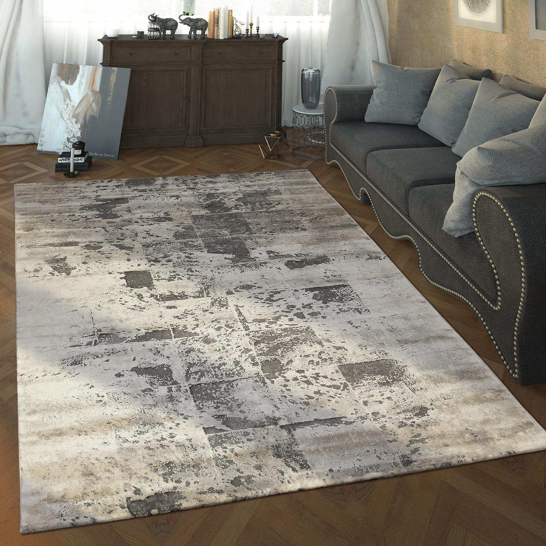 Designer Teppich Karo Muster Grau Alle Teppiche