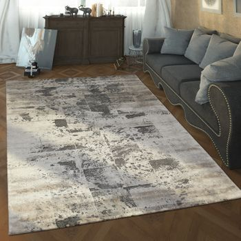 Designer Living Room Rug High Low Texture Checked Pattern Modern In Grey White – Bild 1