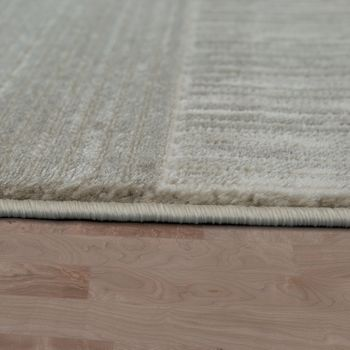 Modern Heatset Designer Rug Short-Pile Check Design In Pastel Beige Cream – Bild 2