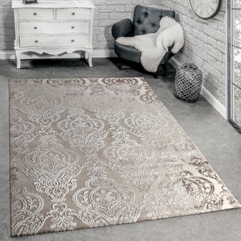 Rug 3D Effect Ornaments Cream