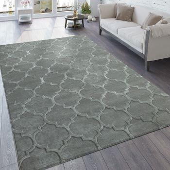 Rug 3D Effect Moroccan Pattern Grey
