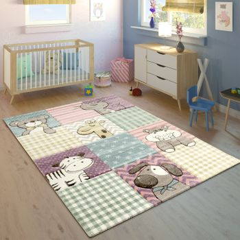 Children's Rug Funny Animals Pastel Colours Colourful