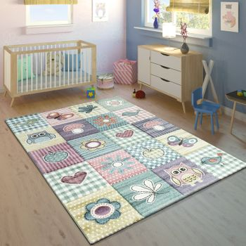 Children's rug Children's room Contour Cut Cute Motif Pastel Multicoloured – Bild 1