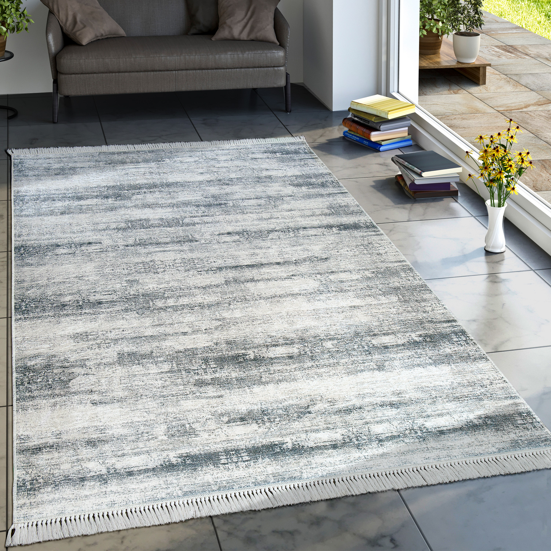 Designer Teppich Wohnzimmer Trend Teppiche Modern Meliert Bedruckt Grau