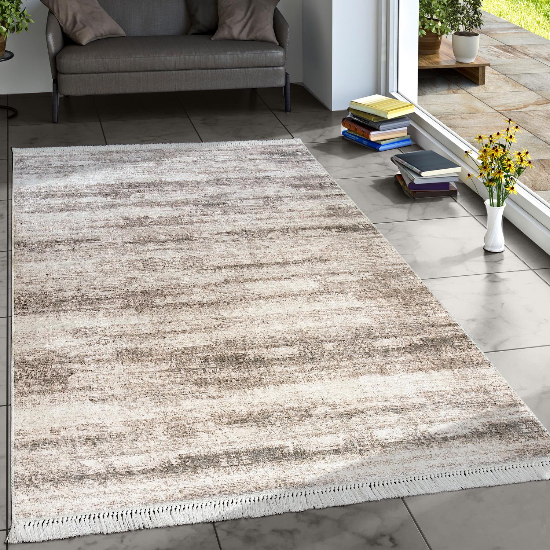 Designer Teppich Wohnzimmer Trend Teppiche Modern Meliert Bedruckt Beige