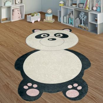 Children's Rug Panda Bear Black White