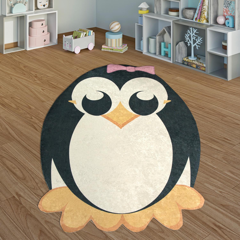 tapis enfant pingouin fille noir blanc tapis24. Black Bedroom Furniture Sets. Home Design Ideas