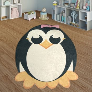 Children's Rug Playroom Penguin Pink Bow Girls Interior Black White – Bild 1