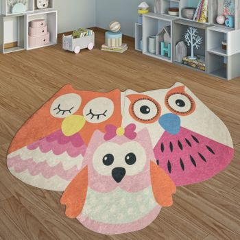 Children's Rug Playroom Playful Owls Girls Interior Orange Pink Rosa – Bild 1