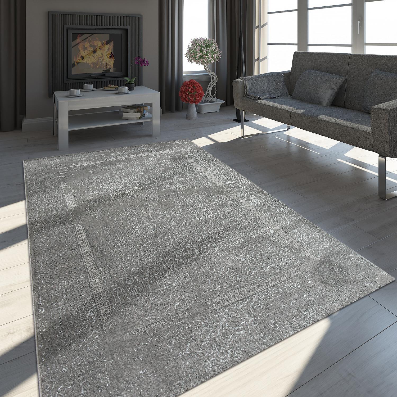 Orient Teppich Modern 3D Effekt Used Look Maya Muster Schimmer Grau Anthrazit