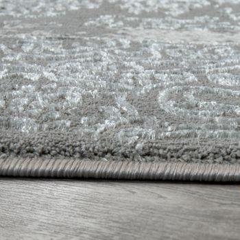 Oriental Rug Modern 3D Effect Used Look Maya Pattern Shimmer Grey Anthracite – Bild 2