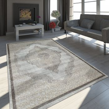 Oriental Rug 3D Effect Gold Grey