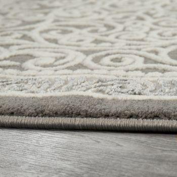 Orient Teppich Modern 3D Effekt Ornamente Meliert Grau Silber Weiß Schimmernd – Bild 2