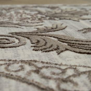 Orient Teppich Modern 3D Effekt Bordüre Ornamente Gold Grau Schimmernd – Bild 3