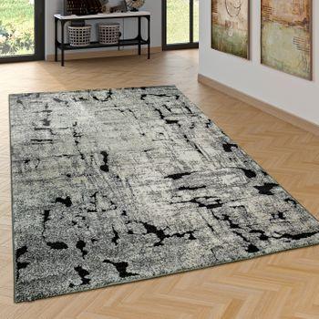 Edler Designer Teppich Wohnzimmer Hoch Tief Effekt Industrial Look Modern Grau – Bild 1
