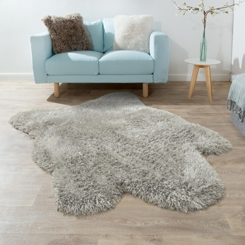 Fur Rug Faux Fur Imitation Flokati Style Long Pile Rug Living Room Grey