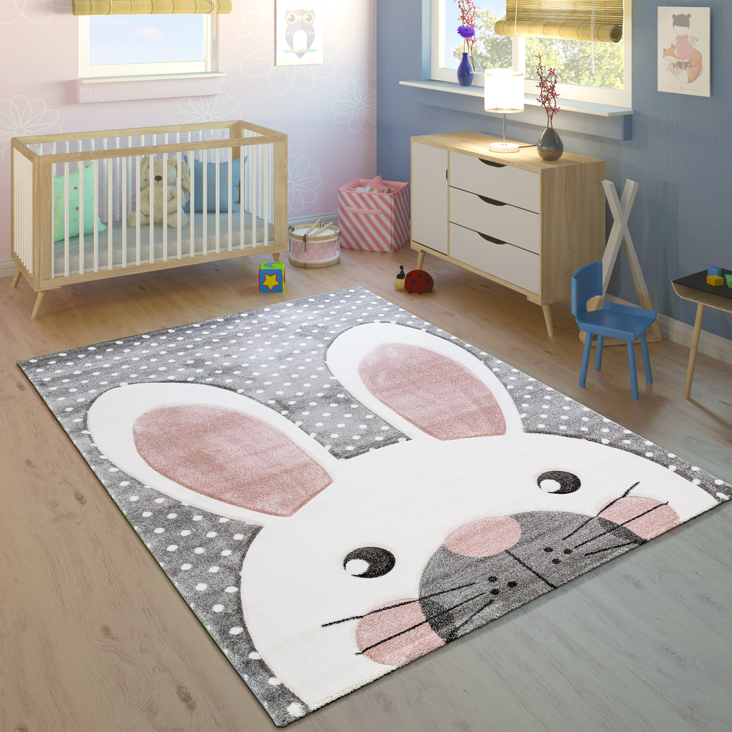 kinderteppich kinderzimmer konturenschnitt niedlicher hase grau creme rosa teppiche aktuelle werbung. Black Bedroom Furniture Sets. Home Design Ideas