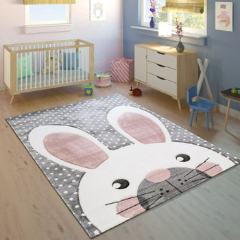 Children's Rug Children's Room Contour Cut Cute Hare Grey Cream Pink – Bild 1