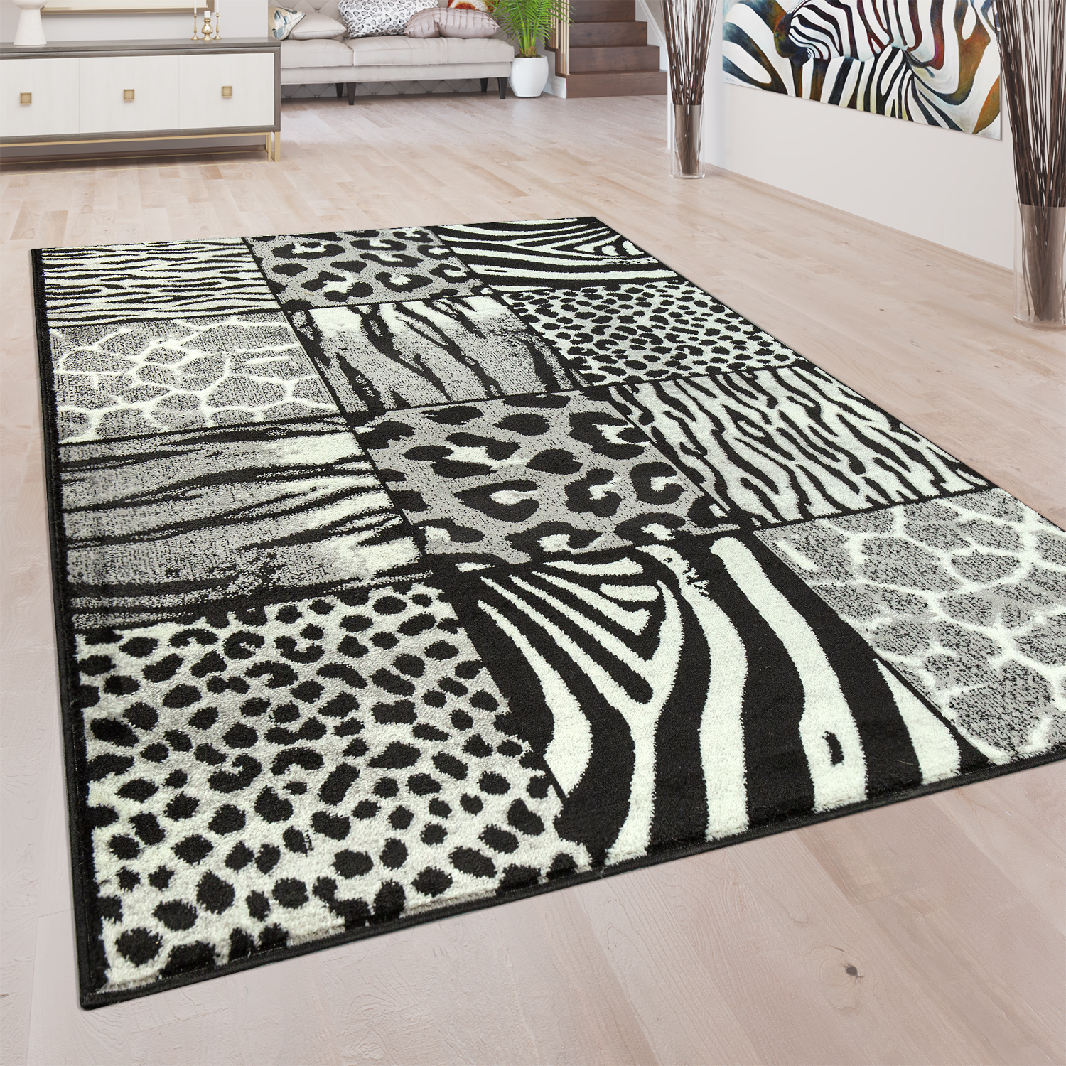 Perfekt Designer Rug Animal Fur Motif Grey 001