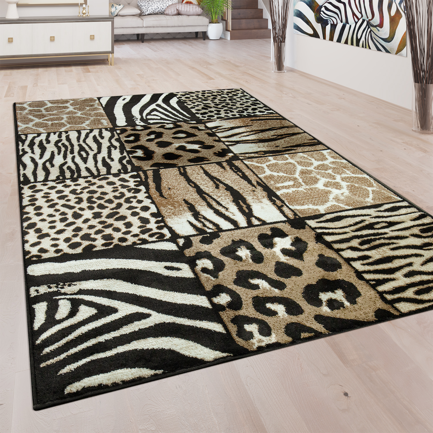 Wunderbar Designer Rug Animal Fur Motif Brown 001