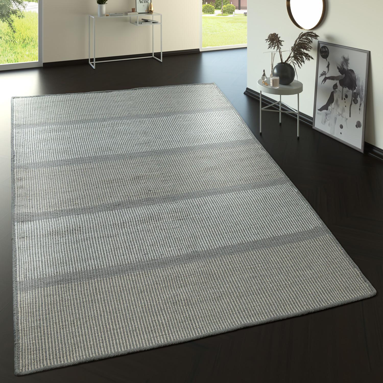 Flachgewebe Wollteppich Streifen Muster In Grau Creme