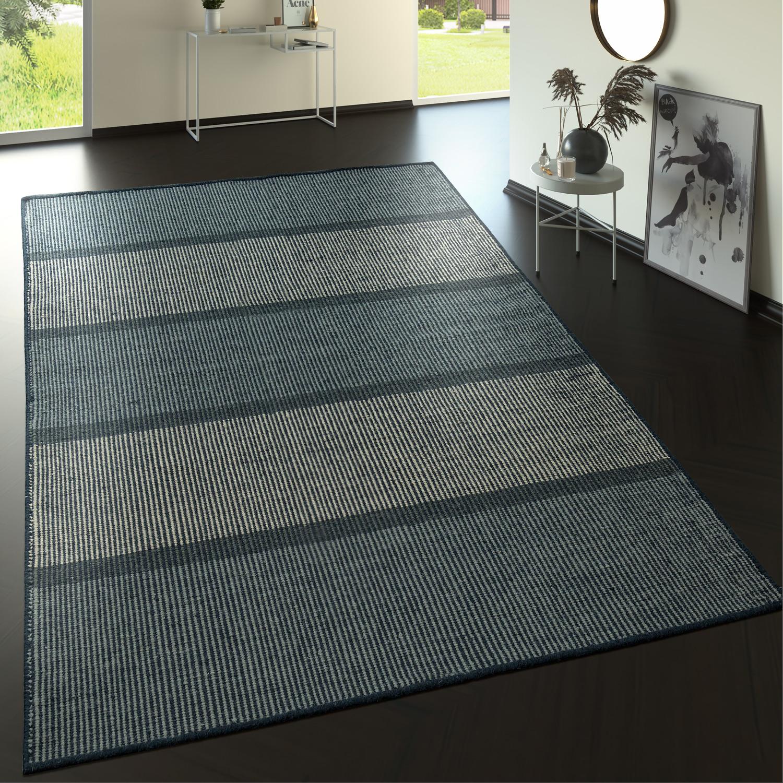 flachgewebe wollteppich streifen muster in grau t nen teppiche naturfaser teppiche. Black Bedroom Furniture Sets. Home Design Ideas