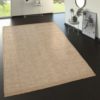 Flat Woven Wool Rug In Trend Design Beige Cream