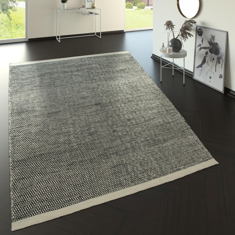 Flachgewebe Wollteppich Im Trend Design Schwarz Creme