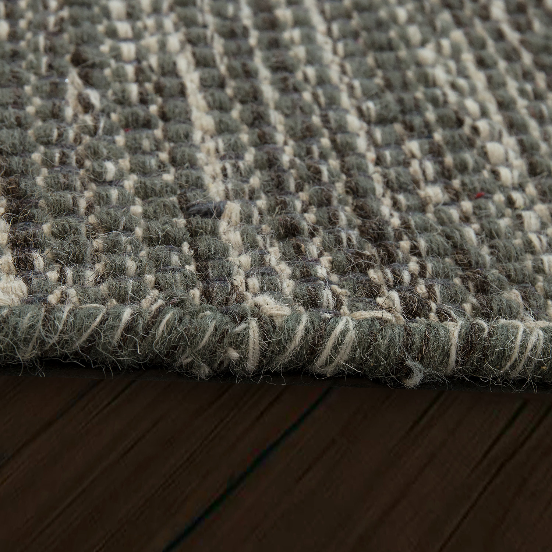 Flat Woven Wool Rug In Trend Design In Grey Rug24