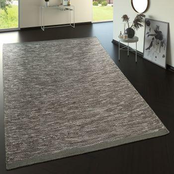 Flachgewebe Wollteppich Im Trend Design In Grau